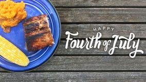 Happy Fourth of July BBQ. Happy Fourth of July Grilled Food Graphic Stock Photos