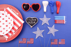 Happy Fourth of July BBQ and Party Table Stock Photo