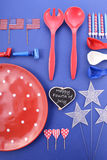 Happy Fourth of July BBQ and Party Table Stock Photos