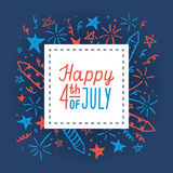 Happy fourth of July. Card template. Vector hand drawn illustration stock illustration