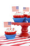 Happy Fourth of July Cupcakes on Red Stand Royalty Free Stock Images
