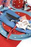 Happy Fourth of July dining table place setting close up Royalty Free Stock Photo