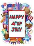 Happy Fourth of July doodle background Royalty Free Stock Photos