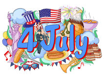 Happy Fourth of July doodle background Royalty Free Stock Photo