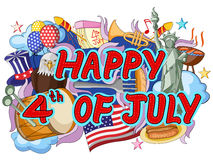 Happy Fourth of July doodle background Royalty Free Stock Photography