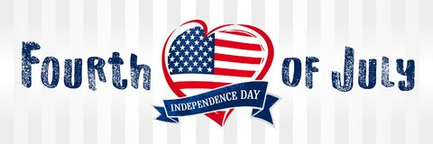 Happy Independence Day of the United States, July 4th. Happy Fourth of July flag in heart greeting card. Hand lettering banner with letters on ribbon and flag Stock Photo