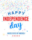 Happy Fourth of July greeting card template with confetti. United States of America Independence day poster, brochure design. Vector illustration vector illustration