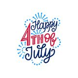 Happy Fourth of July, hand lettering. Calligraphy for Independence Day. Vector inscription on fireworks background. Happy Fourth of July, hand lettering. Vector Royalty Free Stock Images