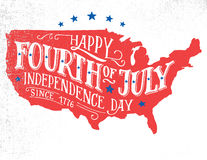 Happy Fourth of July hand-lettering greeting card Royalty Free Stock Photography