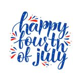 HAPPY FOURTH OF JULY- handwritten invitation. HAPPY FOURTH OF JULY, 4TH OF JULY, USA HAPPY INDEPENDENCE DAY- handwritten invitation desigh.Motivation text stock illustration