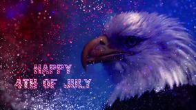 Happy Fourth of July Particle Eagle stock video