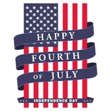 Happy fourth of July. USA independence day background with american flag, ribbon and lettering. Vector EPS 10. Happy fourth of July. USA independence day Vector Illustration