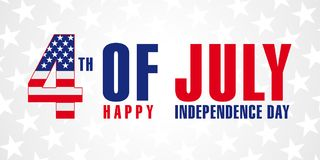 July 4th, Happy Independence Day of USA stars poster. Happy Fourth of July vector greeting card. Lettering banner with flag USA in letter 4 and text Happy royalty free illustration