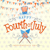 Happy Fourth of July. Vector Illustration with Hand Lettered text, Hat, Fireworks and ornaments Stock Image