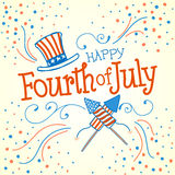 Happy Fourth of July. Vector Illustration with Hand Lettered text, Hat, Fireworks and ornaments Stock Images