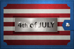 Happy Fourth 4th of July message with american flag Royalty Free Stock Photo