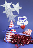 Happy Fourth 4th of July party table decorations - vertical. Royalty Free Stock Photography