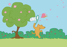 Happy fox run on grass. An happy fox tries to catch a butterfly. Vector illustration Stock Image