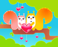 Happy fprest animals celebrating Valentine's day Royalty Free Stock Image