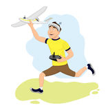 Happy FPV pilot is launching his plane.  Royalty Free Stock Photo