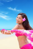 Happy free bikini woman on Hawaiian beach vacation Royalty Free Stock Images