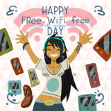 Happy Free wi-fi Free Day funny greeting card. Royalty Free Stock Images