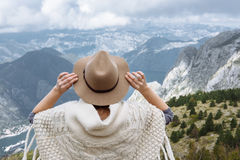 Happy free woman enjoying trip adventure travel with folk hat sh Stock Photos