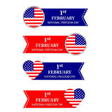Happy Freedom Day. USA. 1st February. Colorful banners, symbols, signs with American flag Stock Photography