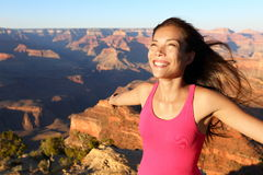 Happy freedom woman in Grand Canyon Stock Photo