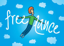 Happy freelance man flying Stock Images
