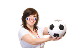 Happy french football supporter, isolated on white Royalty Free Stock Photography