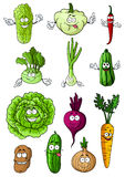 Happy fresh cartoon vegetables characters Royalty Free Stock Photos