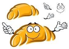 Happy freshly baked cartoon croissant charactr Stock Image