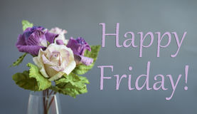 Happy Friday card. With purple and white paper flowers stock photos