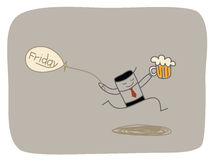 Happy friday. Cartoon character of happy Friday concept Stock Photo