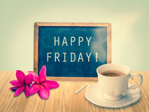 Happy Friday on chalkboard. With vintage filter royalty free stock images