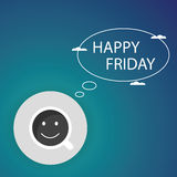 Happy Friday coffee cup background, vector Royalty Free Stock Photos