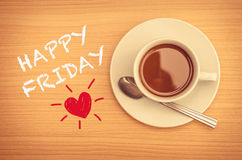 Happy Friday with coffee cup. On table stock photo
