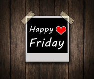 Happy Friday on grunge wooden background. With copy space Royalty Free Stock Photos