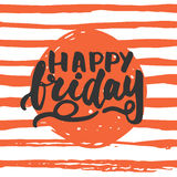 Happy friday - hand drawn lettering phrase  on the lines background. Fun brush ink inscription for photo. Overlays, greeting card or t-shirt print, poster Stock Photography