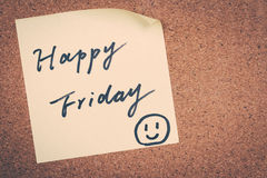 Happy Friday. Note message weekend concept stock image