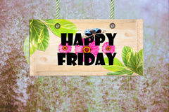 Happy friday signpost. In beautiful meadow stock images