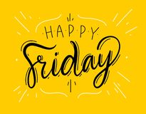 Happy Friday sing vector lettering. Vector illustration. Happy Friday sing vector lettering. Vector illustration on yellow background
