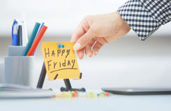 Happy Friday text on adhesive note Stock Images