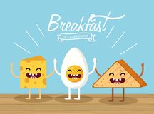 Happy Fried Egg With Cheese And Triangle Bread Royalty Free Stock Photography