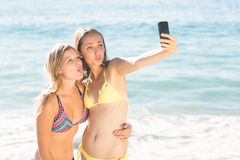 Happy friend doing selfie with smartphone Stock Photos