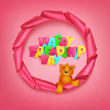 Happy friendhip day title in round ribbon pink frame with teddy bear Royalty Free Stock Photos