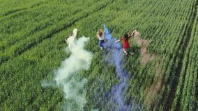 Happy friendly friends run across the field with toy planes that emit colored smoke. Happy friendly friends run across the field with toy planes that emit stock video