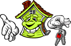 Happy Friendly House Holding Keys. Cartoon Image of a Happy Smiling House with Hands Holding Home Keys Royalty Free Stock Images