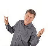 Happy friendly man greets Royalty Free Stock Image
